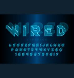glowing 3d futuristic sci-fi alphabet creative vector image