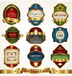 golden-framed colorful labels vector image