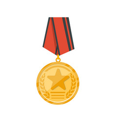 golden medal with red ribbon icon vector image