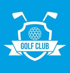 Golf club emblem icon white vector