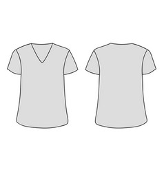 gray unisex v neckline t-shirt template vector image