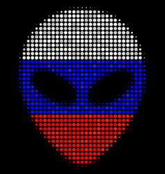 Halftone russian alien face icon vector