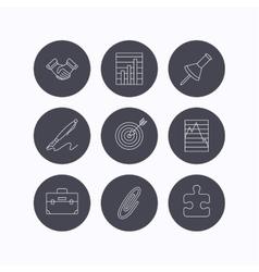 Handshake graph charts and target icons vector