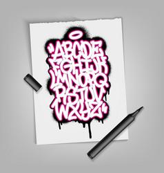 Handwritten graffiti alphabet artistic typography vector