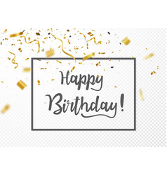 happy birthday celebrations with gold confetti vector image