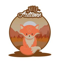 Hello autumn card with cute animal cartoons vector