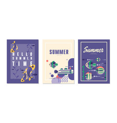 hello summer time cards set summer vacation sea vector image