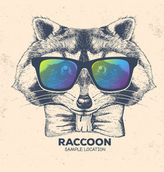 Hipster animal raccoon hand drawing muzzle vector