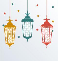 Intricate Arabic lamps for Ramadan Kareem vector image