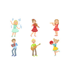kids playing music and singing set boys and girls vector image