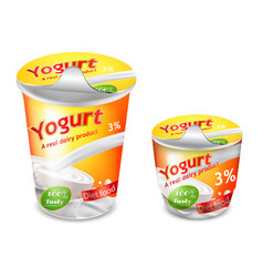 large and small plastic cup for yogurt vector image
