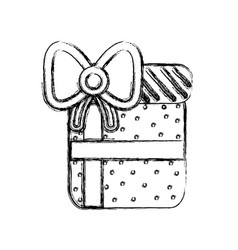 line gift present with ribbon decoration to vector image