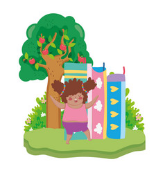 Little chubby girl with pile books in the vector