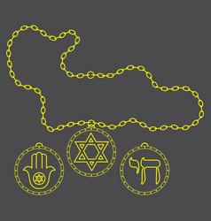Medal chain jewish symbols vector