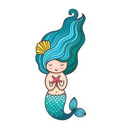 Mermaid siren cute cartoon character vector