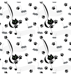 Music Cats seamless pattern vector image
