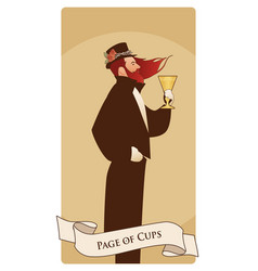 page or knave of cups with top hat roses and vector image