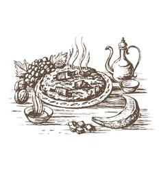 pilaf oriental cuisine vector image