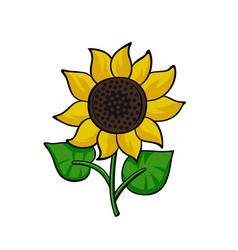 pop art style sunflower sticker vector image