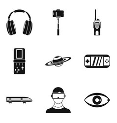 Radiocommunication icons set simple style vector