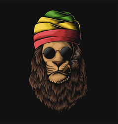 Rasta lion head vector