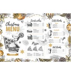 Restaurant christmas holiday menu design vector