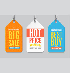 sale label paper tag hanging set vector image