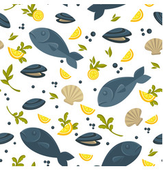 Salmon fish and oysters in shell in endless vector
