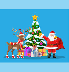 santa claus his reindeer and christmas tree vector image