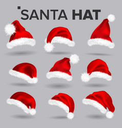 santa hat set santa claus holiday red and vector image