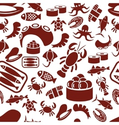 Seafood seamless pattern vector