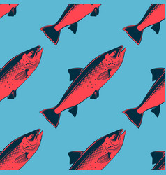 seafood seamless pattern with pink salmon vector image