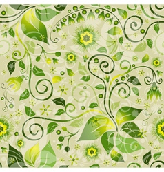 Seamless floral green pattern vector image