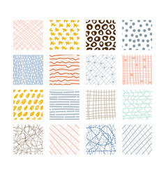 Set abstract colored squares hand drawn vector