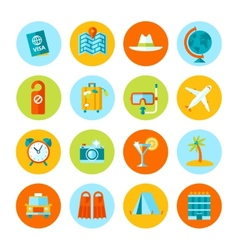 Set flat travel and tourism icons vector