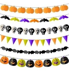 Set of Halloween buntings vector