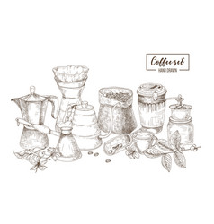 set of kitchen utensils and tools for coffee vector image