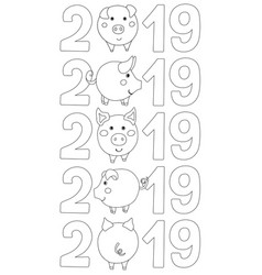 Set of number 2019 with pig instead 0 vector