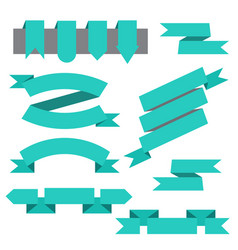 set of ribbonsbookmarks in flat style vector image