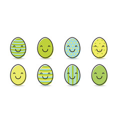 set of smiley easter eggs vector image
