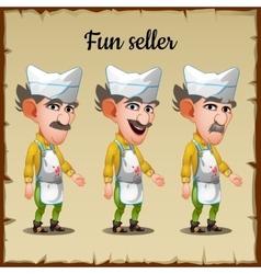 Set of three emotions an elderly man seller vector