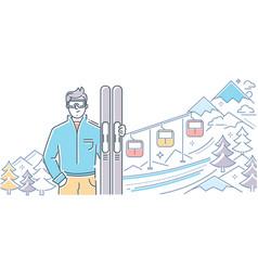 Ski resort - modern colorful line design style vector