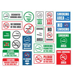 Smoking area and no smoking signs vector