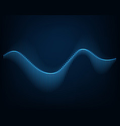 Sound wave abstract background glowing curve vector