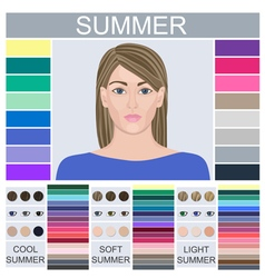 Stock set of three summer types of female vector