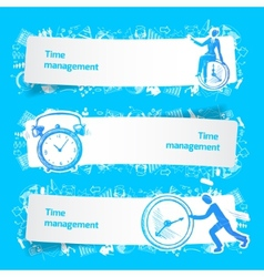 Time management set banners sketch vector