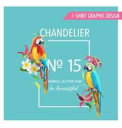 Tropical Leaves Flowers and Parrot Birds vector