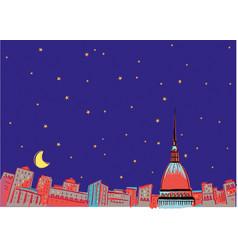 Turin in the moonlight vector