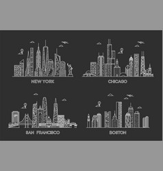 usa cities skylines set vector image