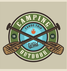 Vintage camping time round colorful logotype vector